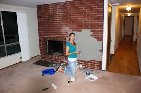 first new house project painting the brick fireplace
