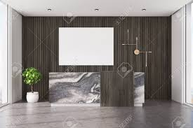 Wood Office Counter Design Dark Wooden Office Interior With A Concrete Floor And A Marble