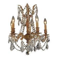 worldwide lighting windsor collection 5 light french gold and clear crystal chandelier
