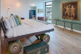 wood base bed furniture design cliff. Hard To Miss The Wheels On This Custom Bed! [Design: Specht Architects] Wood Base Bed Furniture Design Cliff H