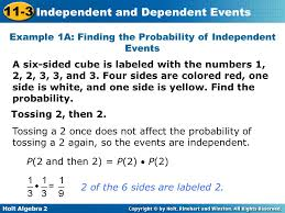 Independent and 11-3 Dependent Events Warm Up Lesson Presentation ...