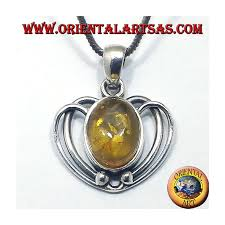 silver heart pendant with amber oval