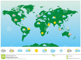 world weather forecast map and icons stock vector  image