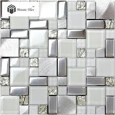 Super White Glass Glitter Mosaic Tile Metallic Kitchen Backsplash