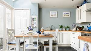 Of Blue Kitchens In This Large Family Kitchen The White Units And Wooden Worktops