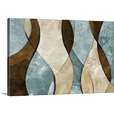 brown and blue canvas wall art