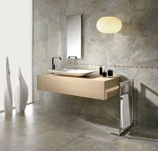 Contemporary Minimalist Bathroom Design Wall-Mounted Brown Wood Bathroom  Vanity with White Rectangular Marble Vessel