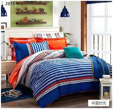 plaids bedding set cotton bed clothes orange white blue tapes duvet cover comforter round corner black sets queen king and