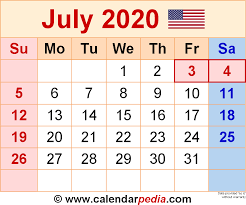 Printable Monthly Calendar July 2020 July 2020 Calendars For Word Excel Pdf