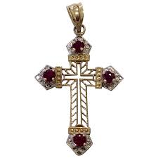 14k two tone cross pendant with rubies charles anthony antiques ruby lane
