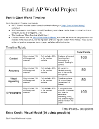 ap world final project  final ap world project part 1 giant world timeline each giant world timeline must include