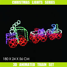 3d Christmas Train Lights Details About 3d Led Christmas Motif Lights Train Set 180cm Long Animated Frosted Rope Outdoor