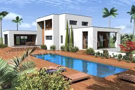 plan de maison ee contemporaine cubique horizon vue terre