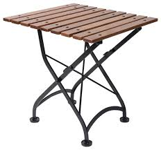 french cafe bistro folding coffee table black frame chestnut wood slat top