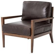 kyrie mid century brown leather angular armchair modern armchairs and accent chairs by kathy kuo home