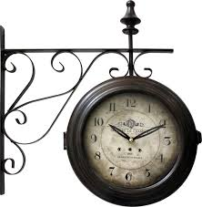 double sided iron wall clock dark brown frame white face black texts