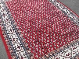large persian vintage rug carpet oriental wool royal mir red