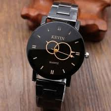 new kevin circle pointer black stainless steel round dial quartz image is loading new kevin circle pointer black stainless steel round