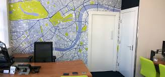 Wallpapered office home design Accent Homify Custom Map Wallpaper By Wallpapered Homify