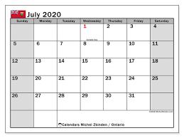 June July 2020 Calendar July 2020 Calendar Ontario Canada Michel Zbinden En