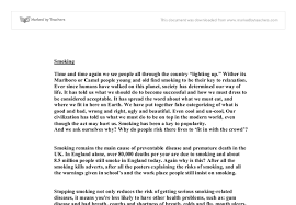 persuasive writing why do people smoke gcse english marked  document image preview