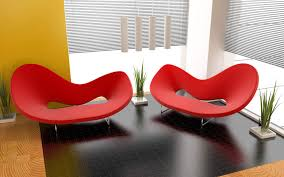 Unique Red Chairs Color Furniture And Modern Ceiling Light Decor