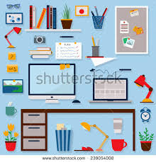 home office items. Home Office Icons Set. Freelancers Working Elements And Items. Flat Style Vector Illustration. Items E