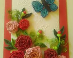 Paper Quilling Rose Flower Basket Quilled Card Etsy