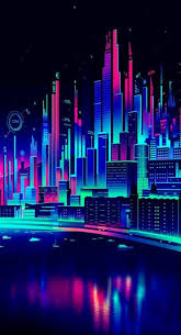 vaporwave neon city wallpaper