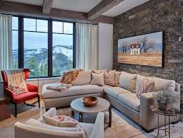 wall design ideas stone wall living room