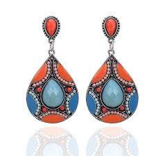 bohemian chandelier long round earrings