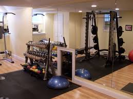 interesting home gym room design with large frame less wall mirror combine black area rug also spot lifters on laminate wooden floor workout room storage ideas89 storage