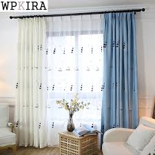 custom size curtains blue embroidered curtains for living room blue shiny drapes for
