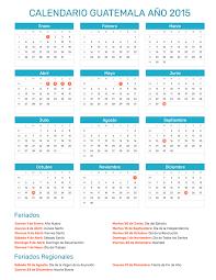 Calendario Guatemala Año 2015 Feriados