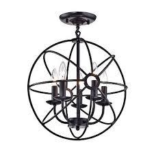 chandelier 5 light orb sphere cage globe flush mount chandelier ceiling fixture