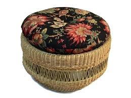 rattan ottoman with cushion image 0 round rattan ottoman cushion