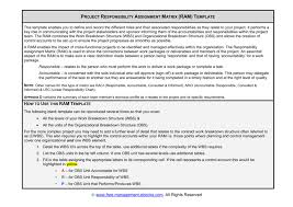 Project Responsibility Assignment Matrix Ram Template This