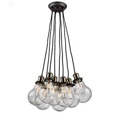 artcraft ac10488 edison 8 light 20 inch matte black vintage brass chandelier ceiling light