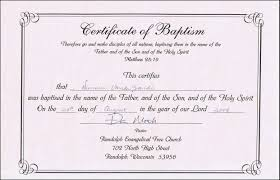 Free Download Sample Baptism Certificate Templates For Word Free