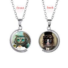 cheshire cat gem necklaces rotating double sided glass cabochon pendants sweater chain high quality designer jewelry gift