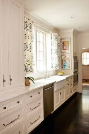 kitchen with cafe curtains