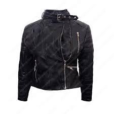 womens cropped black faux leather biker jacket zoom womens