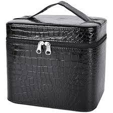 com train case coofit portable travel makeup case crocodile pattern leather beauty box for women large black coofit