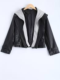affordable plus size hooded faux leather jacket