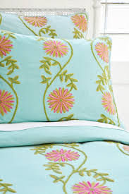pine cone hill edelweiss crewel duvet cover and shams in aqua