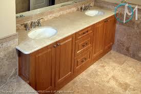 dual sink vanity. The Subtle Pattern Crema Marfil Is Displayed Here On This Dual Sink Vanity. Vanity Y