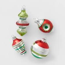 14ct <b>Retro</b> Glass <b>Christmas</b> Tree <b>Ornament</b> Set Red Green & Silver ...