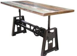 J Industrial Adjustable Height Coffee Table Natural Reclaimed Intended For  Dining Heightu2026