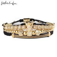 <b>3pcs set Luxury Cz</b> Polygon Ball Crown Charm Copper Bead