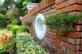 garden bed against a brick wall what